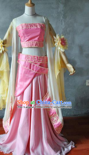 Chinese Cosplay Goddess Princess Pink Dress Ancient Female Swordsman Knight Costume for Women