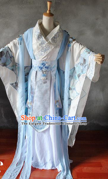 Chinese Cosplay Goddess Princess Embroidered Dress Ancient Female Swordsman Knight Costume for Women