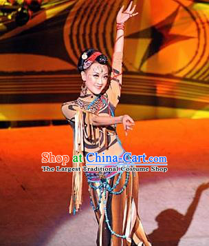 Chinese Tamrac Heaven Classical Dance Brown Dress Stage Performance Costume and Headpiece for Women