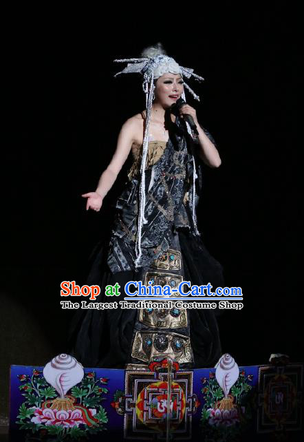 Chinese Tamrac Heaven Zang Nationality Dance Black Dress Stage Performance Costume and Headpiece for Women