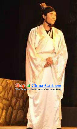 Chinese Drama Yuan Qu Scholar White Clothing Stage Performance Dance Costume for Men
