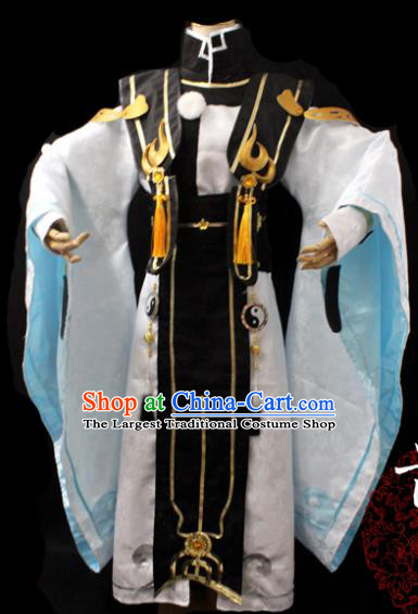 Traditional Chinese Cosplay Taoist Priest White Clothing Ancient Swordsman Costume for Men