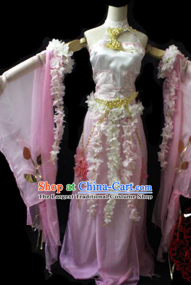 Chinese Cosplay Fairy Princess Pink Dress Ancient Female Swordsman Knight Costume for Women