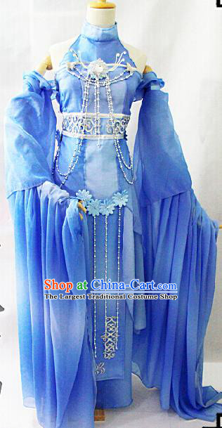 Chinese Cosplay Goddess Fairy Blue Dress Ancient Female Swordsman Knight Costume for Women