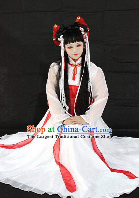Chinese Cosplay Goddess Fairy White Dress Ancient Female Swordsman Knight Costume for Women
