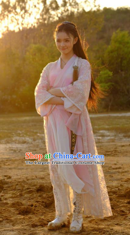 Chinese Drama Fights Break Sphere Ancient Female Knight Swordsman Xiao Xuner Hanfu Dress for Women