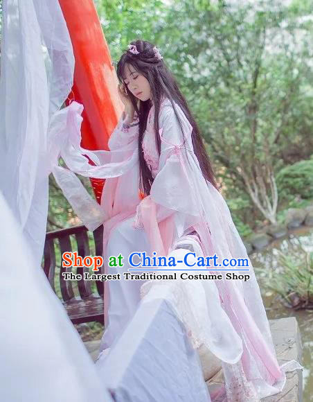 Chinese Cosplay Goddess Princess Light Pink Dress Ancient Female Swordsman Knight Costume for Women