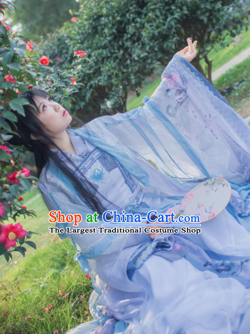 Chinese Cosplay Tang Dynasty Princess Blue Dress Ancient Female Swordsman Knight Costume for Women