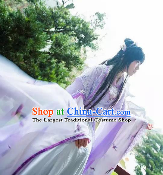 Chinese Cosplay Princess Purple Dress Ancient Female Swordsman Knight Costume for Women