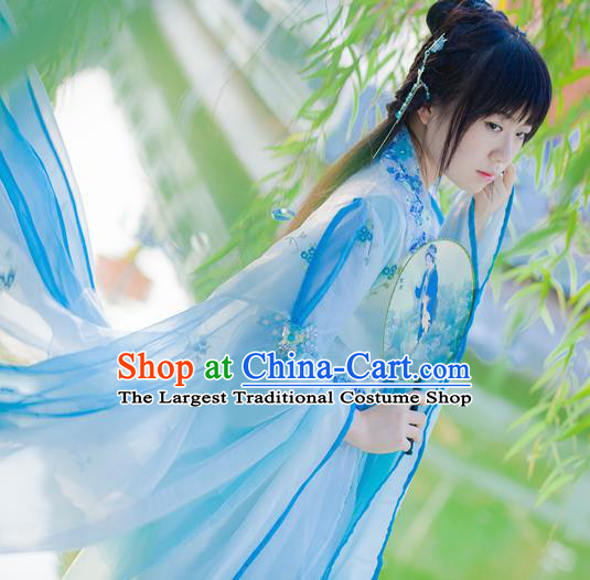 Chinese Cosplay Princess Light Blue Dress Ancient Female Swordsman Knight Costume for Women