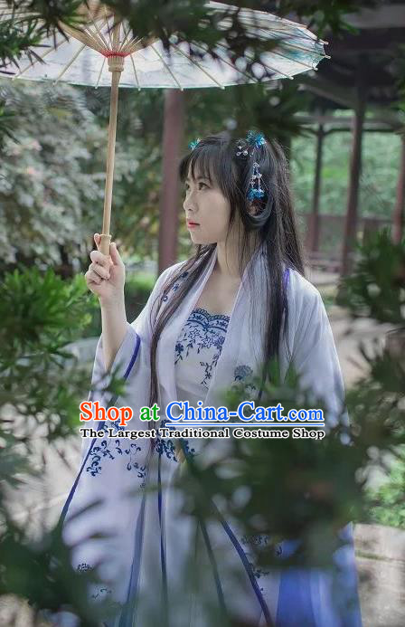 Chinese Cosplay Princess Blue Dress Ancient Female Swordsman Knight Costume for Women