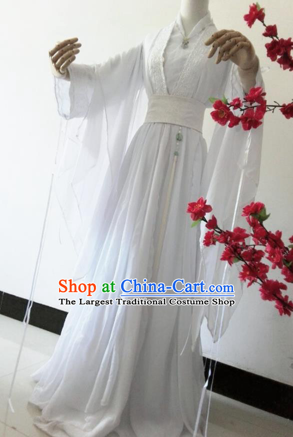 Chinese Cosplay Princess White Dress Ancient Female Swordsman Knight Costume for Women