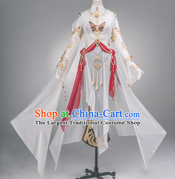 Traditional Chinese Cosplay Swordswoman Fairy White Dress Ancient Heroine Costume for Women