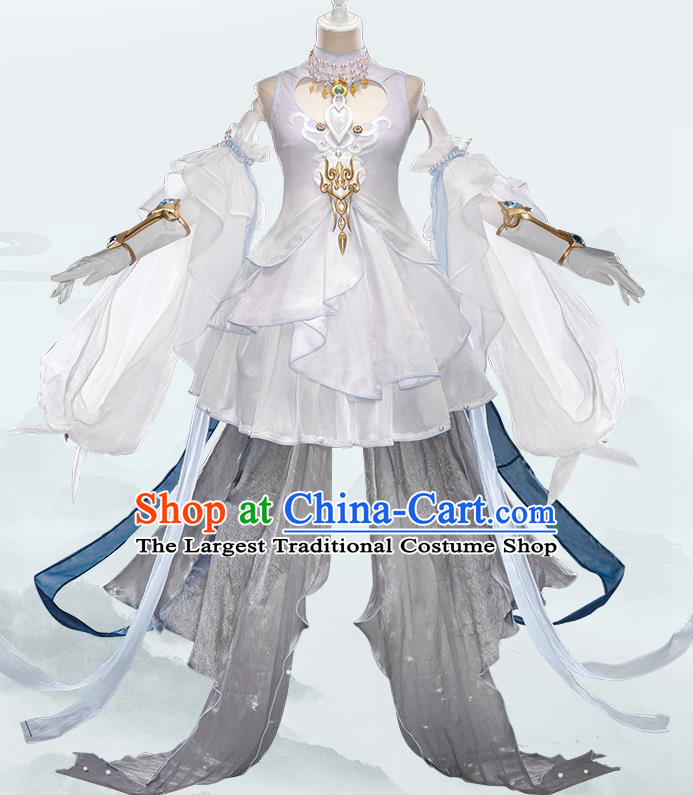 Traditional Chinese Cosplay Swordswoman Fairy White Short Dress Ancient Heroine Costume for Women