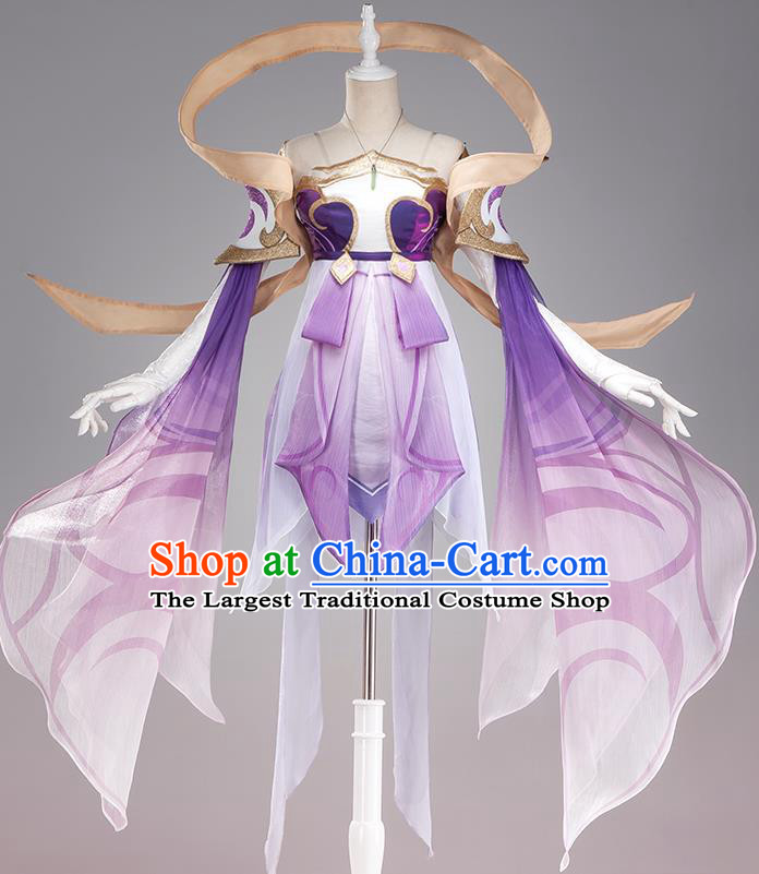Traditional Chinese Cosplay Swordswoman Fairy Purple Short Dress Ancient Heroine Costume for Women