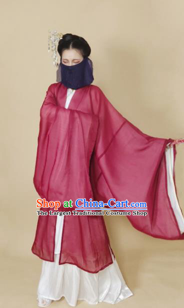 Chinese Ming Dynasty Wine Red Chiffon Cloak Ancient Female Swordsman Knight Costume for Women