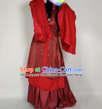 Chinese Ming Dynasty Princess Wine Red Vest Ancient Court Lady Costume for Women