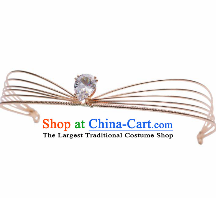 Top Grade Bride Golden Hair Clasp Royal Crown Handmade Wedding Hair Accessories for Women