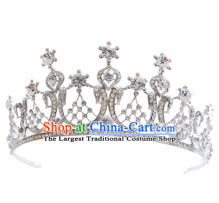 Top Grade Bride Beads Crystal Royal Crown Handmade Wedding Hair Accessories for Women
