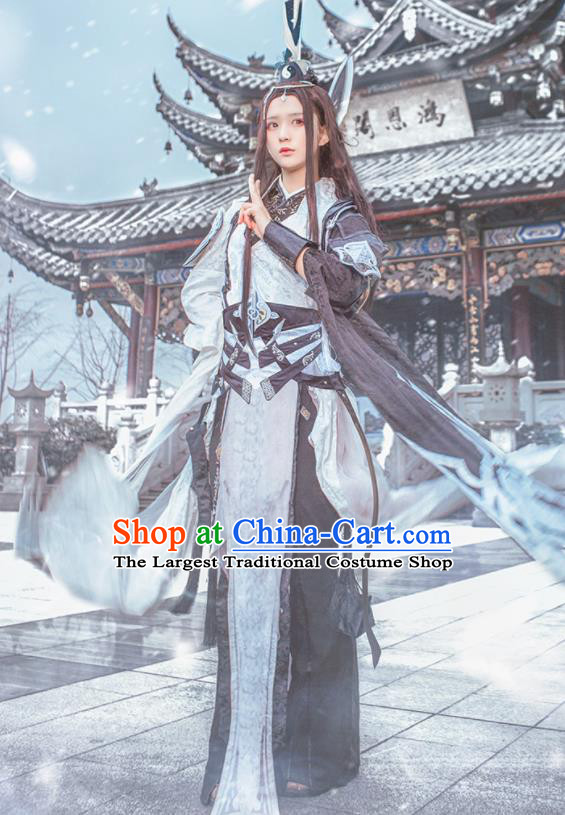 Traditional Chinese Cosplay Swordswoman Dress Ancient Taoist Nun Costume for Women