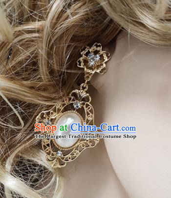 Top Grade Bride Golden Earrings Handmade Wedding Ear Accessories for Women