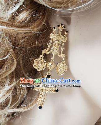 Top Grade Baroque Bride Golden Crucifix Earrings Handmade Wedding Ear Accessories for Women