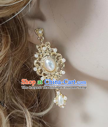 Top Grade Baroque Bride Pearl Earrings Handmade Wedding Ear Accessories for Women