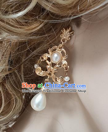 Top Grade Baroque Bride Pearl Golden Earrings Handmade Wedding Ear Accessories for Women
