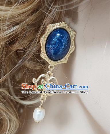 Top Grade Baroque Bride Sapphire Earrings Handmade Wedding Ear Accessories for Women