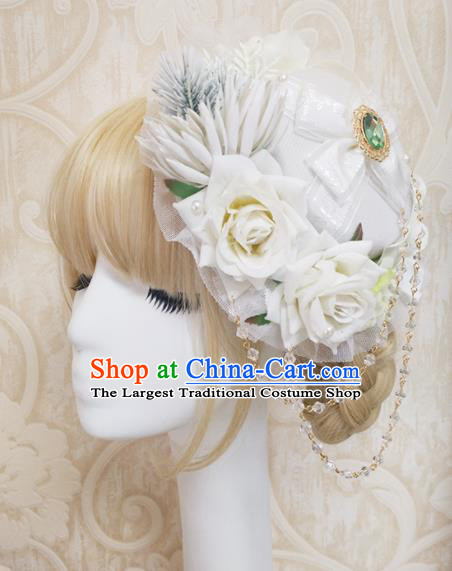 Top Grade Baroque Bride White Roses Top Hat Handmade Wedding Hair Accessories for Women