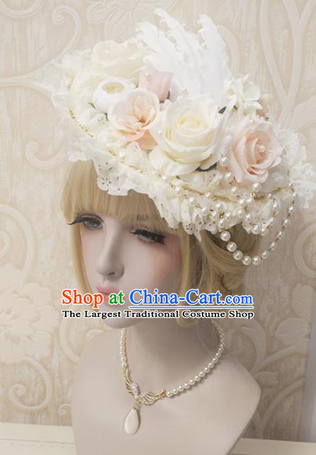 Top Grade Baroque Bride Roses Lace Top Hat Handmade Wedding Hair Accessories for Women