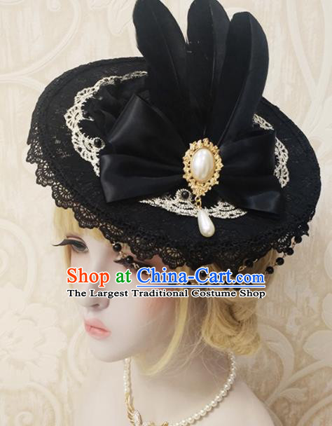 Top Grade Baroque Bride Black Top Hat Handmade Wedding Hair Accessories for Women