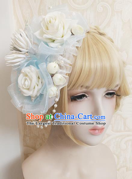 Top Grade Baroque Bride White Rose Top Hat Handmade Wedding Hair Accessories for Women