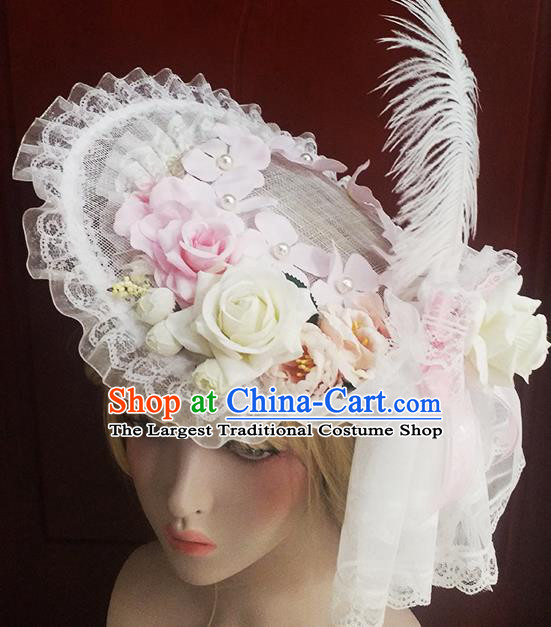 Top Grade Baroque Bride White Feather Lace Top Hat Handmade Wedding Hair Accessories for Women