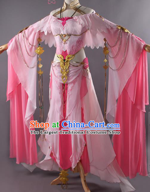 Traditional Chinese Cosplay Swordswoman Pink Dress Ancient Fairy Princess Heroine Costume for Women