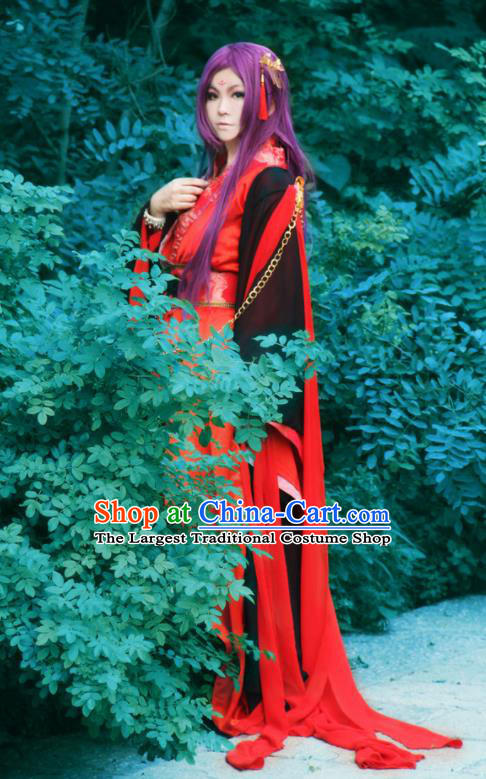 Traditional Chinese Cosplay Swordsman Red Clothing Ancient Royal Highness Costume for Men