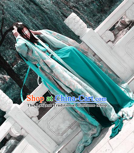 Traditional Chinese Cosplay Swordswoman Green Dress Ancient Royal Princess Costume for Women