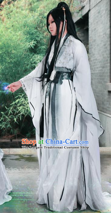 Traditional Chinese Cosplay Nobility Childe Swordsman White Clothing Ancient Prince Costume for Men