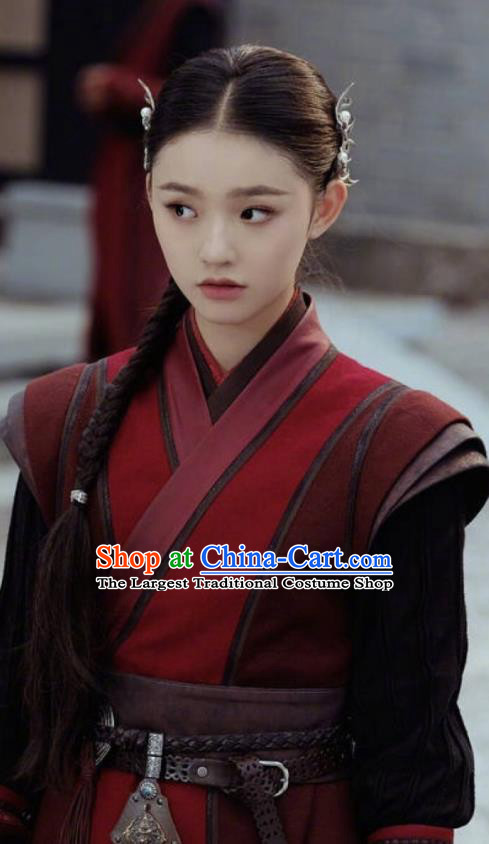 Chinese Drama Fights Break Sphere Ancient Female Swordsman Xiao Xuner Red Hanfu Dress for Women