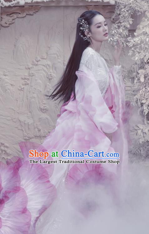 Ancient Chinese Court Princess White Hanfu Dress Drama Fights Break Sphere Costumes for Women