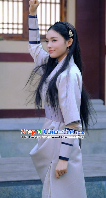 Ancient Chinese Female Swordsman White Hanfu Dress Drama Fights Break Sphere Xiao Xuner Costumes for Women