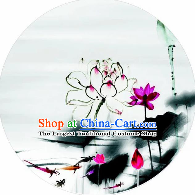 Chinese Handmade Ink Painting Lotus Carps Oil Paper Umbrella Traditional Decoration Umbrellas