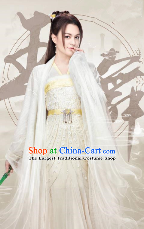 Ancient Chinese Female Swordsman Hanfu Dress Drama Taoist Nun Wang Wu Costumes for Women