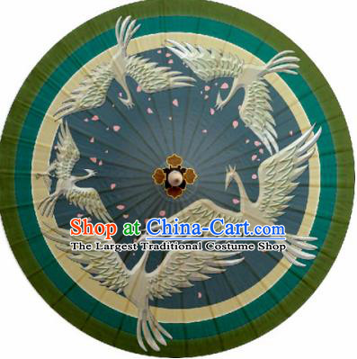 Chinese Classical Dance Handmade Printing Crane Green Paper Umbrella Traditional Decoration Umbrellas