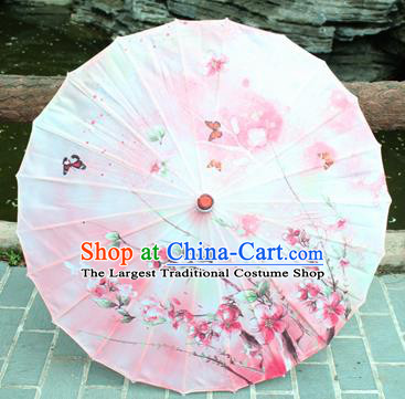 Handmade Chinese Classical Dance Printing Pink Flowers Butterfly Paper Umbrella Traditional Cosplay Decoration Umbrellas