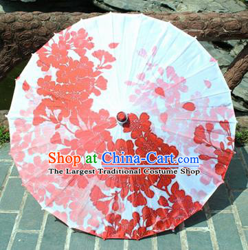 Handmade Chinese Classical Dance Printing Red Flowers Butterfly Paper Umbrella Traditional Cosplay Decoration Umbrellas