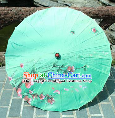 Handmade Chinese Classical Dance Printing Flower Green Paper Umbrella Traditional Cosplay Decoration Umbrellas