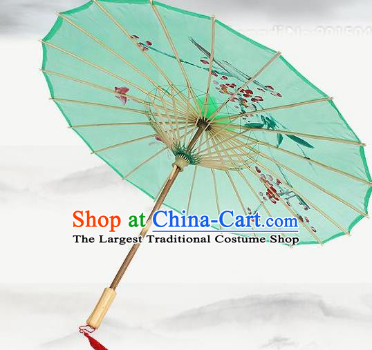 Handmade Chinese Classical Dance Printing Plum Green Silk Umbrella Traditional Cosplay Decoration Umbrellas