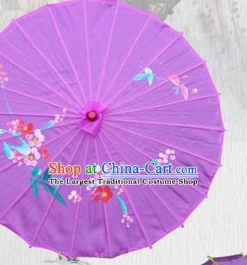 Handmade Chinese Printing Flowers Butterfly Purple Silk Umbrella Traditional Classical Dance Decoration Umbrellas