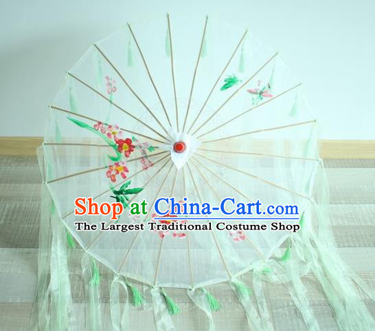 Handmade Chinese Printing Flowers Green Ribbon Silk Umbrella Traditional Classical Dance Decoration Umbrellas